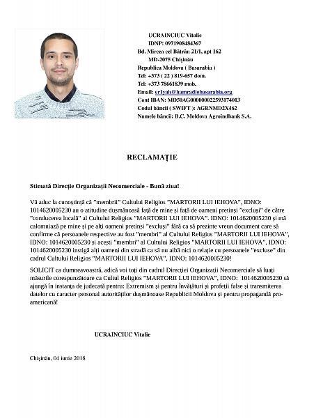 Нажмите на изображение для увеличения.  Название:Ucrainciuc Vitalie ( IDNP_ 0971908484367 ) - Reclamație către Direcția Organizații Necomerci.jpg Просмотров:46 Размер:2.63 Мб ID:212514