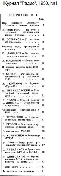 Название: Zhurnal-Radio-1950-01-Oglavlenie.jpg Просмотров: 503  Размер: 52.5 Кб