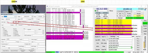 Нажмите на изображение для увеличения.  Название:JTDX and LOGHX.JPG Просмотров:11 Размер:701.0 Кб ID:235244