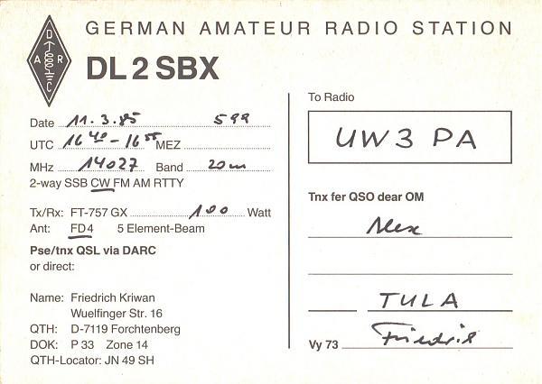 Нажмите на изображение для увеличения.  Название:DL2SBX-UW3PA-1985-qsl-2s.jpg Просмотров:1 Размер:356.0 Кб ID:267277
