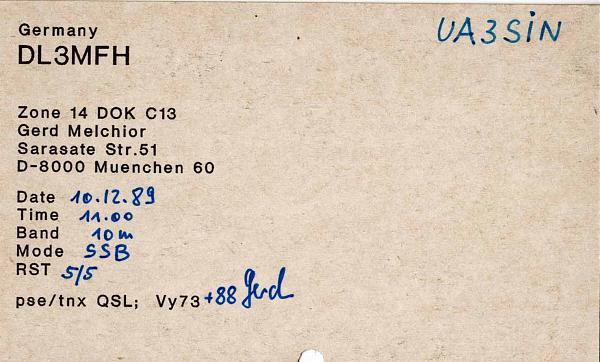 Нажмите на изображение для увеличения.  Название:dl3mfh to ua3sin 1989 qsl-rev.jpg Просмотров:3 Размер:110.1 Кб ID:281519
