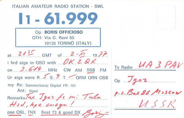 Нажмите на изображение для увеличения.  Название:I1-61-999-to-UA3PAV-1977-qsl-2s.jpg Просмотров:2 Размер:367.4 Кб ID:285462