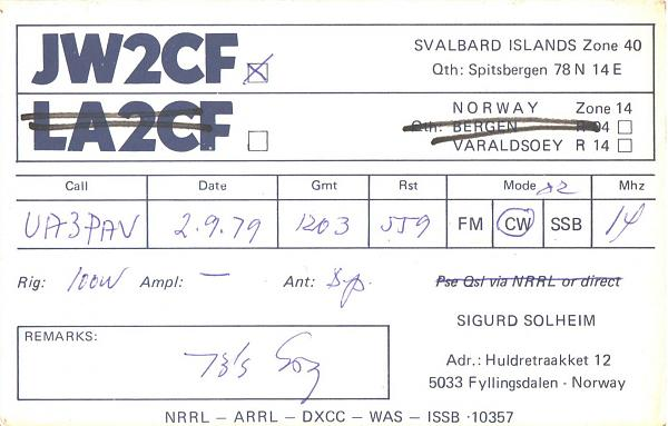 Нажмите на изображение для увеличения.  Название:JW2CF-UA3PAV-1979-qsl.jpg Просмотров:2 Размер:304.7 Кб ID:286013