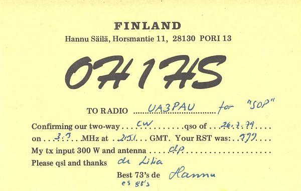 Нажмите на изображение для увеличения.  Название:OH1HS-UA3PAU-1979-qsl.jpg Просмотров:2 Размер:735.9 Кб ID:287586