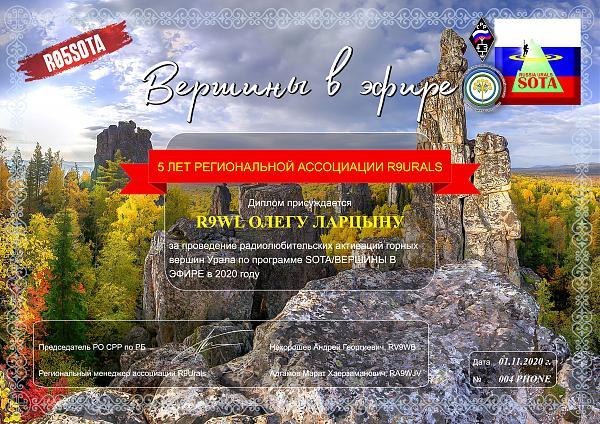 Нажмите на изображение для увеличения.  Название:Диплом SOTA 2020 Олег Ларцын .jpg Просмотров:5 Размер:2.35 Мб ID:290733