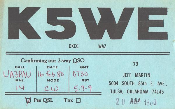 Нажмите на изображение для увеличения.  Название:K5WE-UA3PAU-1980-qsl.jpg Просмотров:2 Размер:441.9 Кб ID:307452