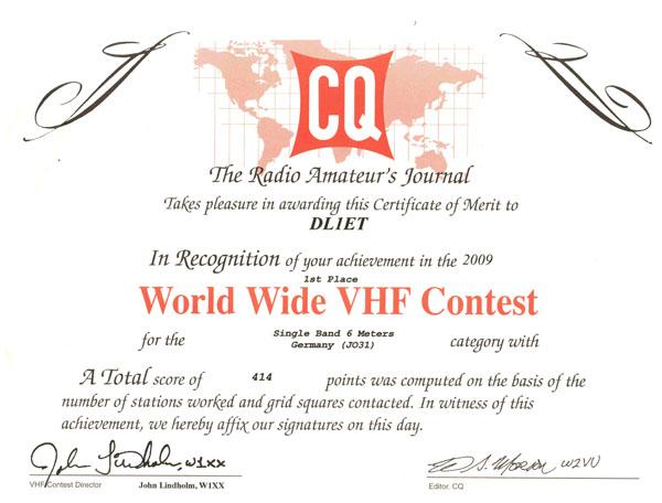 CQ WW VHF 2009