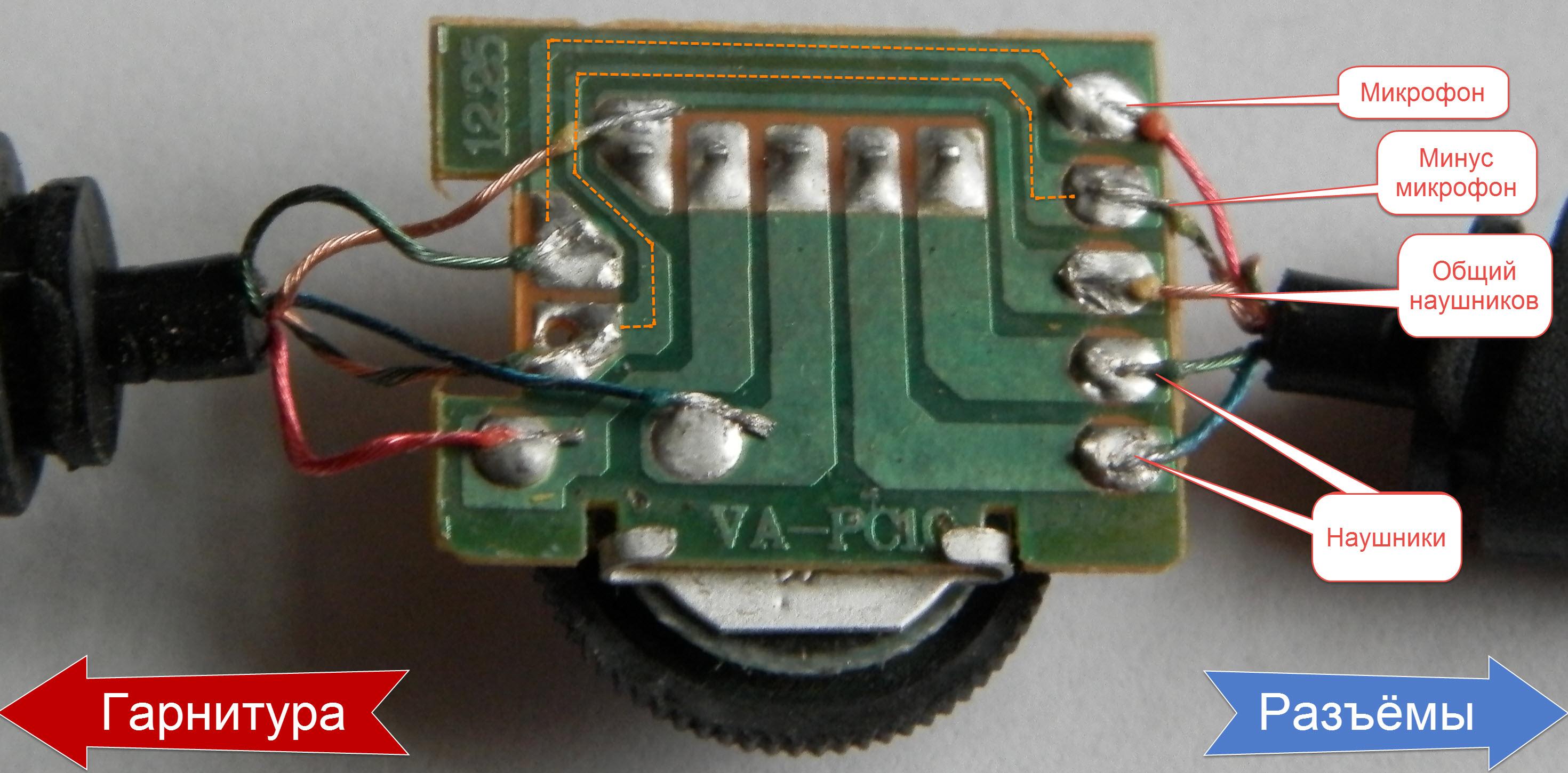 Схема проводов наушников с микрофоном sven