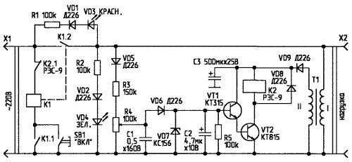 Данная схема защитного автомата на (рис.1) отключает.
